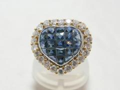 ☆美品☆K18 ハートモチーフ サファイヤダイヤモンドリング
