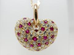 K18 ダイヤモンド×ルビー 合計3.63ct ハートネックレス