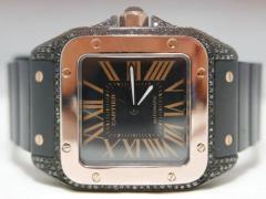 カルティエ サントス100LM PVD ブラックダイヤモンドコレクション