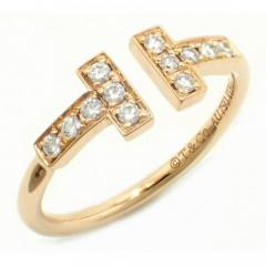 美品★TIFFANY&CO.Tワイヤーダイヤモンドリング K18PG★