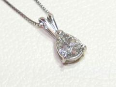 美品★ペアシェイプカットダイヤモンドネックレス D1,30ct Pt850 3,8g