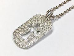 美品★クロムハーツ SV カットアウトクロス ドッグタグ ダイヤモンド