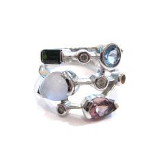 4カラー宝石デザインリング