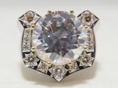 特大10ct 極上ジルコニアダイヤ付き 0.7ctダイヤモンド WGホースシューリング