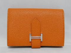 新品HERMES (エルメス)ベアンミニ 二つ折り カードケース 小銭入れ シェーブル オレンジ D