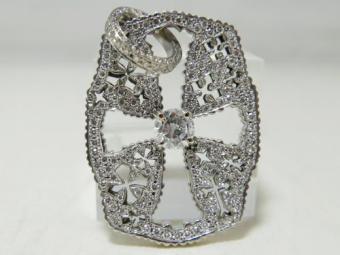 K18WG ダイヤモンド センター1.15ct パヴェ1.897ct 合計3.047ct クロスタグ