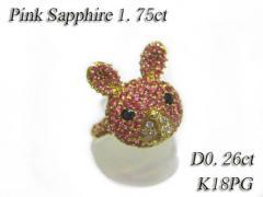 超美品☆K18PGピンクサファイア×ダイヤラビットモチーフリング